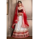 Wedding Wear White & Maroon Net Lehenga Choli - 74064