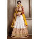 Designer White & Yellow Net Lehenga Choli - 74067