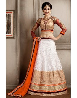 Festival Wear White & Orange Net Lehenga Choli - 74068