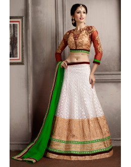 Festival Wear White & Green Net Lehenga Choli - 74069