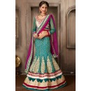 Bridal Wear Green & Fuchsia Net Lehenga Choli - 74072
