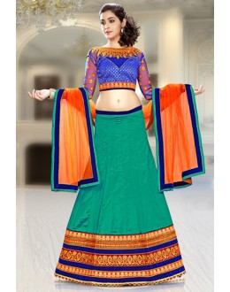 Festival Wear Green & Orange Silk Lehenga Choli - 74076