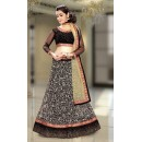 Traditional Black & Beige Net Lehenga Choli - 74077