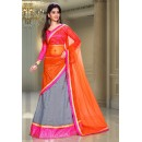 Ethnic Wear Grey & Orange Silk Lehenga Choli - 74078