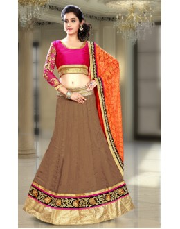 Festival Wear Brown & Orange Silk Lehenga Choli - 74083