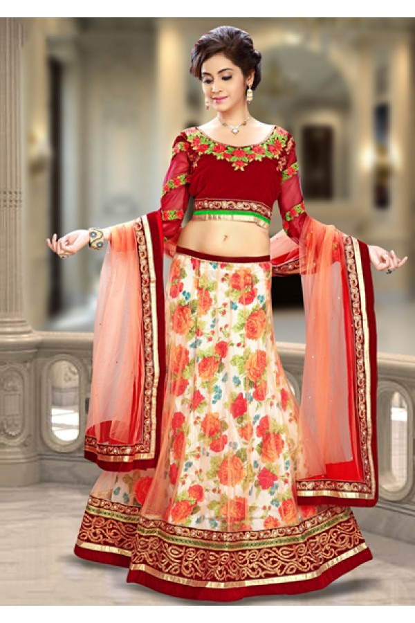 Ethnic Wear Orange & Red Net Lehenga Choli - 74084