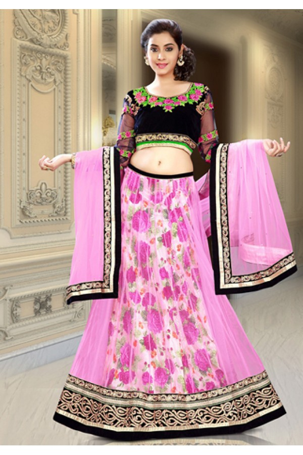 Festival Wear Pink & Black Net Lehenga Choli - 74085