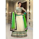 Wedding Wear Beige & Green Net Lehenga Choli - 74089