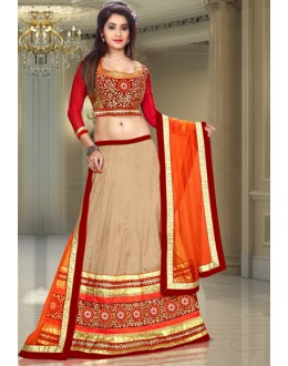 Festival Wear Beige & Red Silk Lehenga Choli - 74090