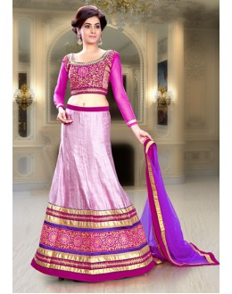 Festival Wear Pink & Purple Silk Lehenga Choli - 74093
