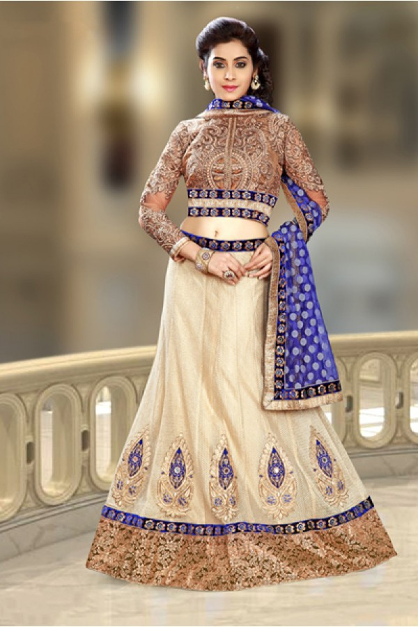 Ethnic Wear Beige & Blue Net Lehenga Choli - 74098