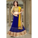 Festival Wear Blue & Beige Georgette Lehenga Choli - 74099