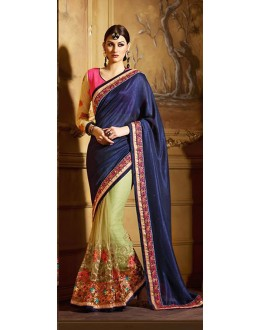 Ethnic Wear Navy Blue & Green Net Saree  - 74142
