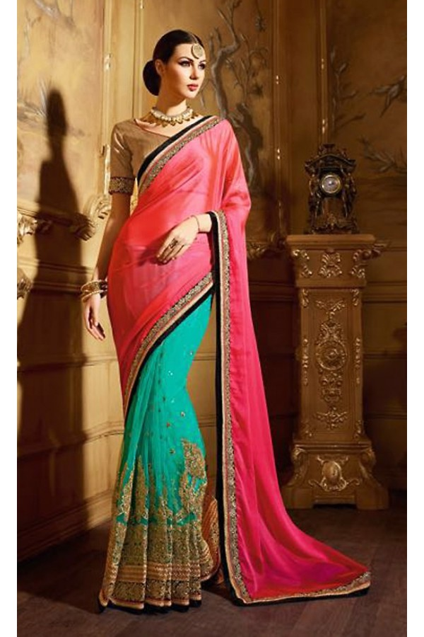 Festival Wear Pink & Turquoise Satin Saree  - 74143