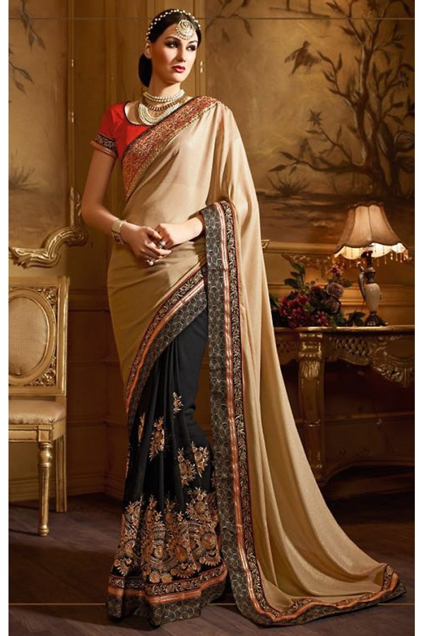 Party Wear Tan Brown & Black Georgette Saree  - 74144
