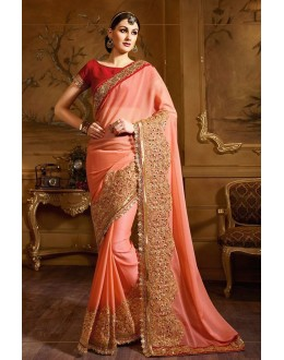 Festival Wear Pink & Red Fancy Saree  - 74149