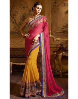 Festival Wear Pink & Yellow Georgette Saree  - 74154