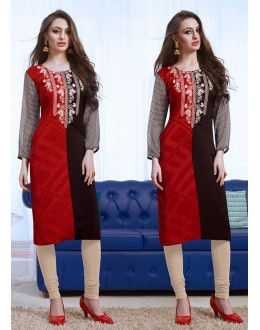 Office Wear Readymade Red Georgette Kurti - 74183
