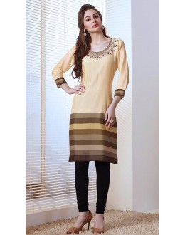 Office Wear Readymade Beige Georgette Kurti - 74184