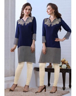 Festival Wear Readymade Blue Georgette Kurti - 74185