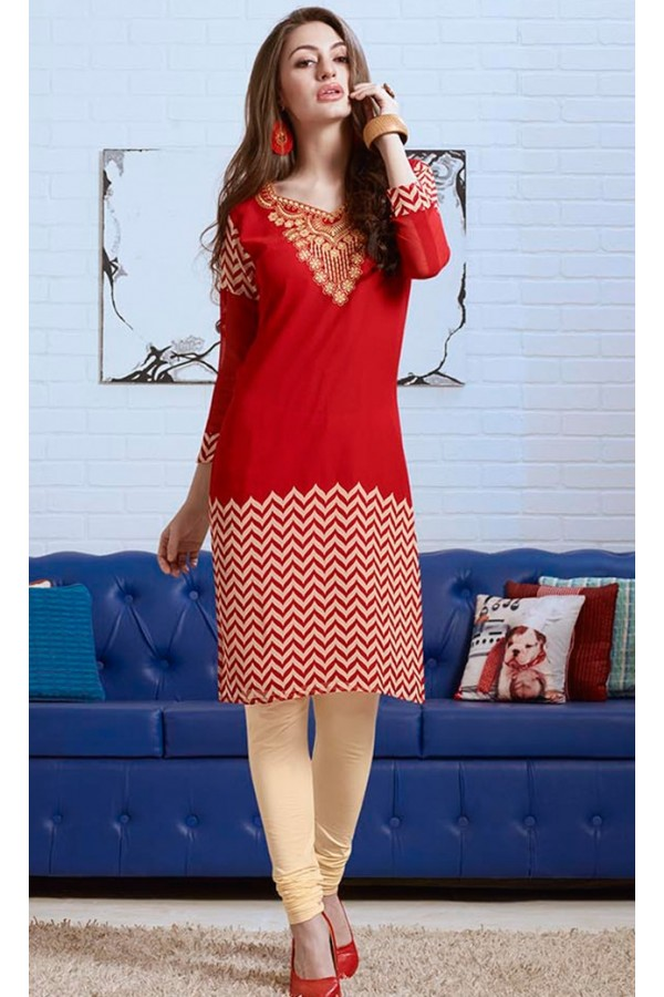 Ethnic Wear Readymade Red Georgette Kurti - 74187