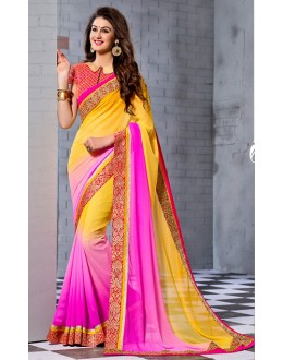 Ethnic Wear Yellow & Pink Georgette Saree  - 74246