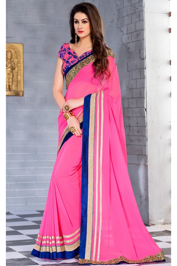 Festival Wear Pink & Blue Georgette Saree  - 74247