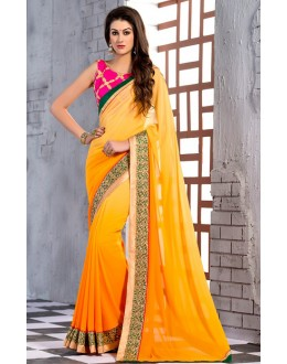 Party Wear Yellow & Pink Georgette Saree  - 74248