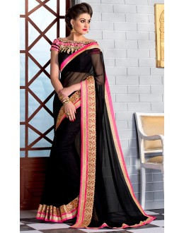 Festival Wear Black Georgette Saree  - 74251