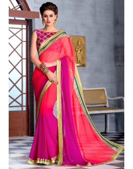 Ethnic Wear Pink Georgette Saree  - 74252