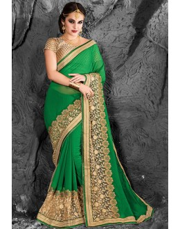 Festival Wear Green & Beige Chiffon Saree  - 74264