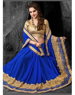 Ethnic Wear Blue & Beige Chiffon Saree  - 74265
