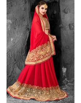 Designer Red & Beige Embroidered Chiffon Saree  - 74266