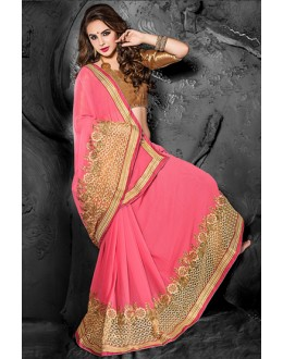 Party Wear Pink & Beige Chiffon Saree  - 74268