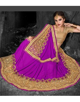 Party Wear Fuchsia & Beige Chiffon Saree  - 74269