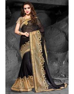 Ethnic Wear Black & Beige Chiffon Saree  - 74270