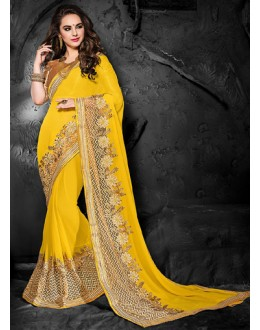 Ethnic Wear Yellow & Beige Chiffon Saree  - 74272