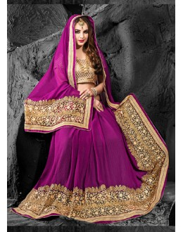 Party Wear Violet & Beige Chiffon Saree  - 74273