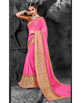 Ethnic Wear Pink & Beige Chiffon Saree  - 74275