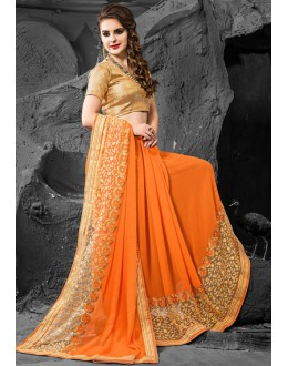 Ethnic Wear Orange & Beige Chiffon Saree  - 74276
