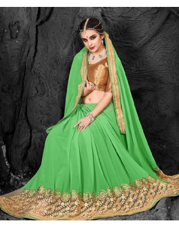 Festival Wear Green & Beige Chiffon Saree  - 74277