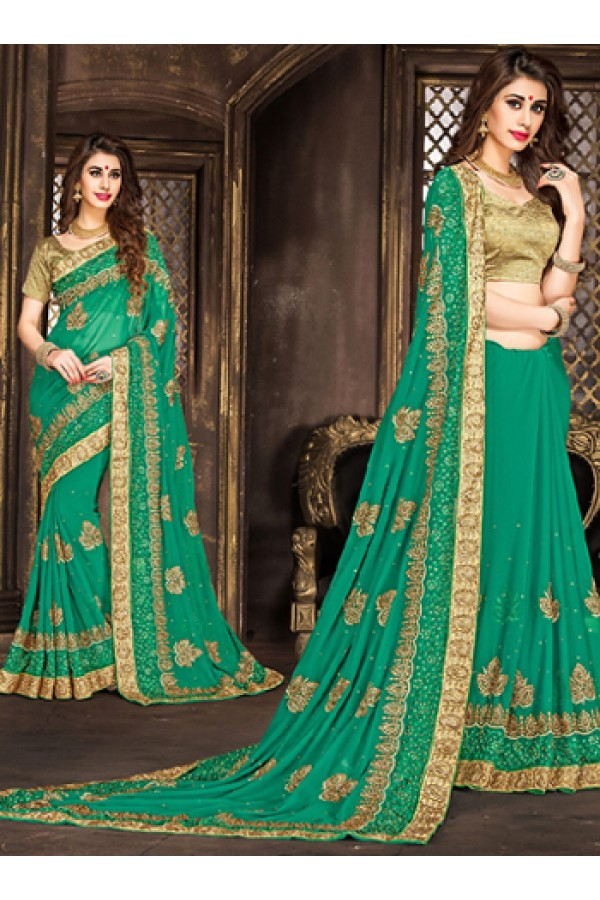 Festival Wear Green & Tan Brown Georgette Saree  - 74291