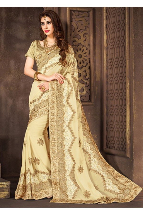 Ethnic Wear Beige Embroidered Georgette Saree  - 74300
