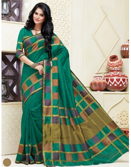 Ethnic Wear Green Cotton Saree  - 74302