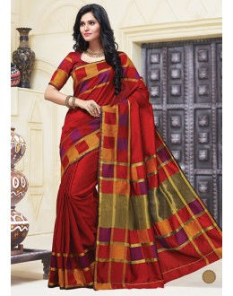 Party Wear Red Cotton Saree  - 74303