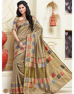 Festival Wear Tan Brown Cotton Saree  - 74304