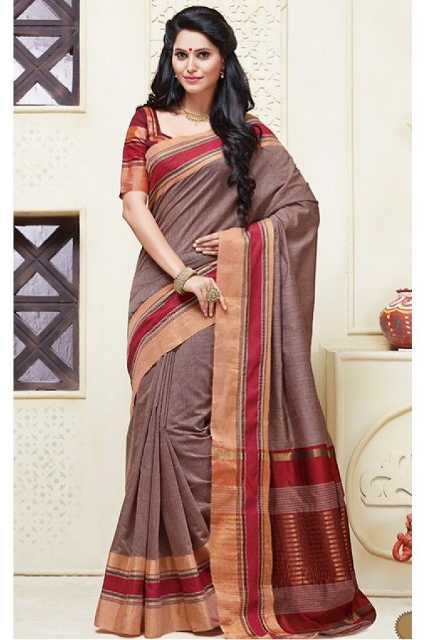 Festival Wear Brown & Red Cotton Saree  - 74315