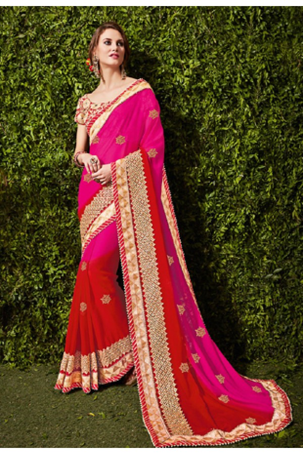 Party Wear Pink & Red Chiffon Saree  - 74477