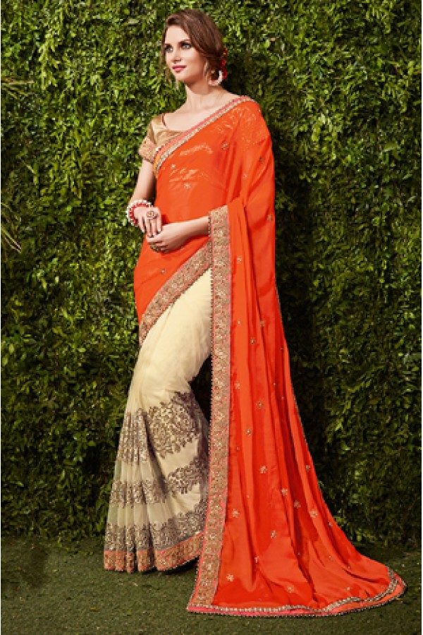 Ethnic Wear Orange & Beige Chiffon Embroidered Saree  - 74478