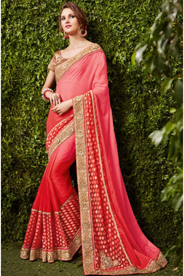 Ethnic Wear Pink & Beige Georgette Saree  - 74488
